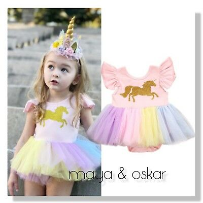 Baby Girls Unicorn Tutu All-in-One Pink Outfit Party Fancy Dress 0 - 12m