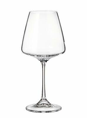 "(D) Set of 6 Bohemian Crystal ""Naomi"" Red Wine Goblets, Lead Free Glasses 12 Oz"