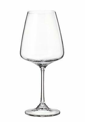 "(D) Set of 6 Bohemian Crystal ""Naomi"" Red Wine Goblets 15 Oz, Lead Free Glasses"