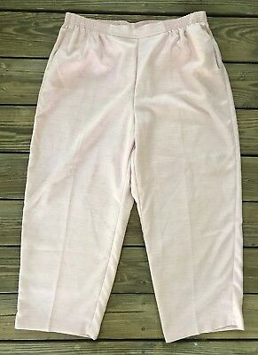 Alfred Dunner Women 18W Proportioned Short Rose Pink Elastic Waistband Pants NWT