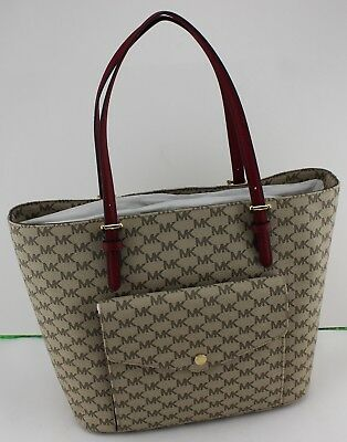 bce0d80e4838 New Authentic Michael Kors Natural Jet Set Item Lg Large Pkt Mf Tote Handbag