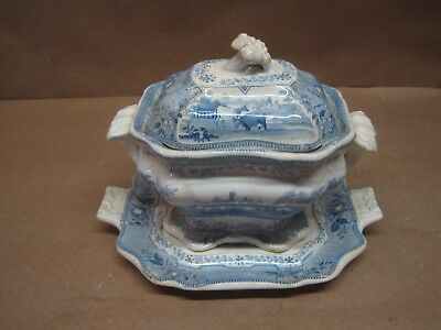 Antique Staffordshire Sauce Tureen, Cover & Under Plate G.Phillips Park Scenery
