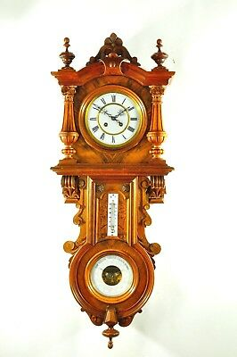 Gorgeous Antique German G.Becker Wall Clock / Barometer/ Thermometer approx.1900