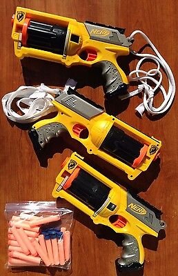 Lot Of 3 NERF N-Strike Yellow Maverick Revolver Dart Gun Blaster + 66 darts
