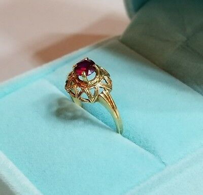 🎁 ANTIQUE ART DECO, 10K Gold, 4mm, .25ct Round Ruby Solitaire Ring, Size 5.5