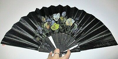Antique Hand Painted Black Satin Fan Pansies Flowers Carved Ebony Victorian
