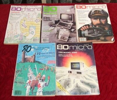 5 80 micro magazines for the Tandy TRS-80 vintage computer