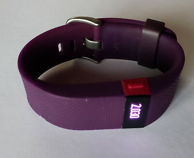 Plum LARGE Fitbit Charge HR Wireless Activity Tracker WITHOUT CHARGER - Used