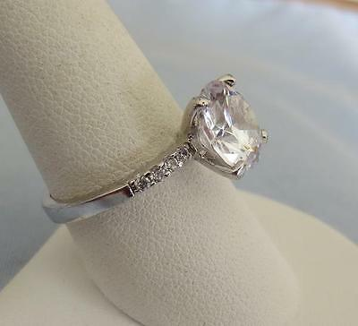 Large Solitaire Sparkling Glass Stone Ring w/ Side Stones, Size 8