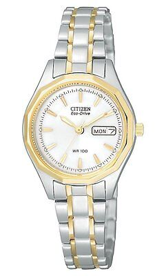 Ladies Citizen Eco-Drive Gold and Silver Stainless Day Date Watch EW3144-51A