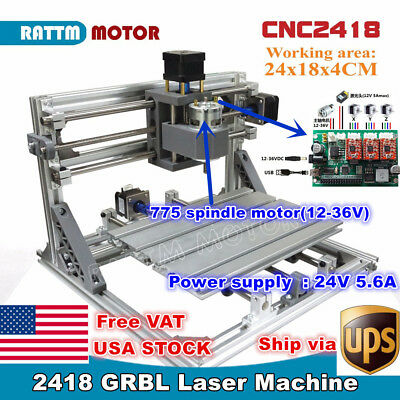 【USA】3 Axis 2418 Mini DIY Laser Machine GRBL Control Pcb Milling CNC Wood Router