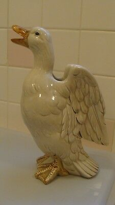 "Vintage Charming FITZ & FLOYD Cream White GOOSE Vase 10.2"" High, Signed"