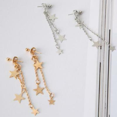 1 Pair fashion woman Simple five-pointed star Pendant tassel earring gift