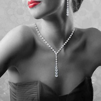 Clear Rhinestone Crystal Necklace Drop Earrings Jewelry Set Bridal Wedding Prom