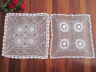 Two Vintage Style Pretty Fine Yarn Hand Crochet Cotton Table Topper White