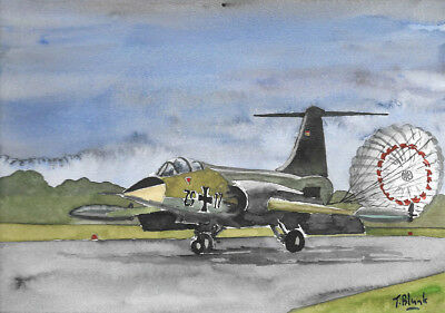 ORIGINAL AQUARELL - Lockheed F-104G Starfighter der Bundeswehr.