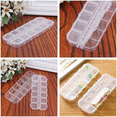Nail Art Tool Jewellery Storage Box 12 Compartments Plastic Rhinestone Organisor