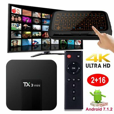 2+16GB TX3mini Android 7.1.2 Nougat Quad core 4K TV BOX wifi+Touchpad Keyboard