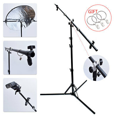 "Multi Function 125cm 49"" Reflector Holder/Boom Arm/Crossbar + 185cm Light Stand"