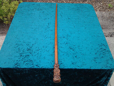 Vintage Gents Walking Stick with 2 sided Tiki man handle, 92cm long, NZ made har