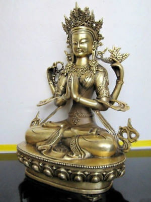 28 cm */The ancient Chinese bronze four arm guanyin white tara Buddha in Tibet