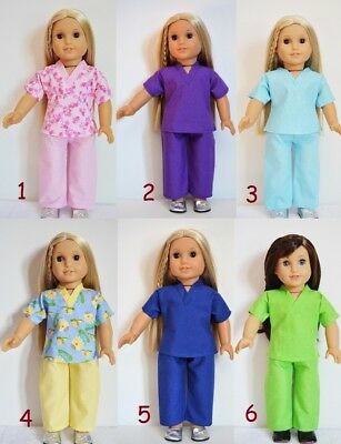 "Handmade Doll Clothes Hospital Scrubs Nurse Doctor Pajamas fit 18"" American Girl"