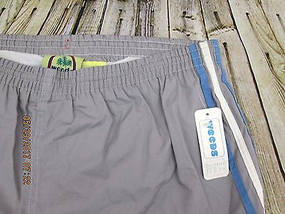 New Vtg. 70's WEEDS Gray & Blue stripes Men's Swim short Shorts size 36-38 Large