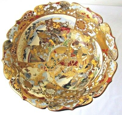 "Magnificent Large Signed 12"" Satsuma Bowl Heavy Encrusted Gold and Enamel"