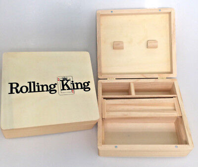 Rolling King Large Wooden Roll Box Tobacco Weed Rizla Smoking Storage Gift