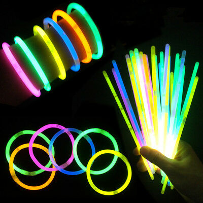 "1x100  8"" Glow Sticks Bracelets Necklace Party Favors Neon Color Connectors"