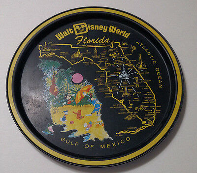 Vintage 70's Disney World Florida Gulf of Mexico Disney Serving Drink Tray