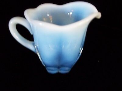 Beautiful Color Antique Glass Blue Opal Small Sauce Creamer scallop rim vintage