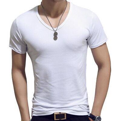 HOT Men's Round Neck T-shirt Slim Fit Short Sleeve Solid Color Casual Tee Top SP