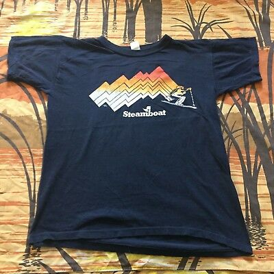 vtg 80s STEAMBOAT SKIING t-shirt TAG SIZE MEDIUM COTTON SKI JERSEY fits small