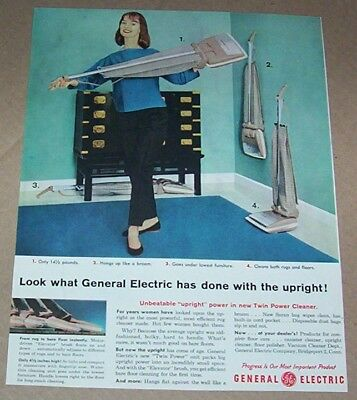 1959 print ad - General Electric upright home vacuum cleaners GE Bridgeport CT