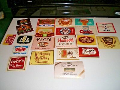 21 pc NOS VINTAGE LOT OF ADVERTISING BEER PAPER LABELS GR8 GRAPHICS & COLORS!
