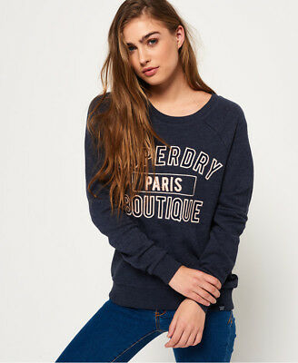 3ee69edc9756 Superdry Sweat-shirt Applique Raglan Crew Pour femme Florence Navy Marne
