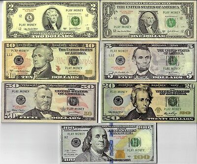 REAL LOOKING not legal Play Money $100,50,20,10,5,2,1, X20 EA.1 side only