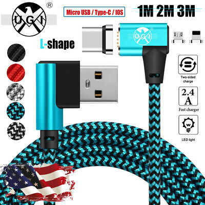 UGI Braided Magnetic Right Angle Micro USB Type-C IOS Charging Data Cable Lot US