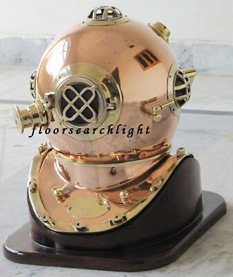 New NAUTICAL BRASS & COPPER MARK V U.S. NAVY DIVERS DIVING HELMET W/ WOODENSTAND