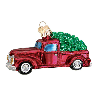 """""""Old Truck with Tree"""" (46029)X Old World Christmas Ornament w/OWC Box"""