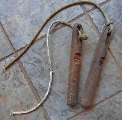 """Vintage Pair of Heavy Cast Iron Window Weights 4 Pounds Each 11"""" Long w/Ropes"""