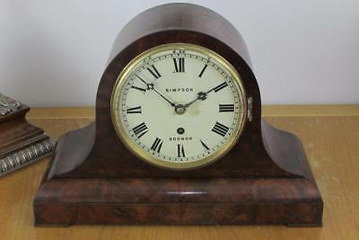 ENGLISH VICTORIAN MANTEL CLOCK single fusee FIGURED MAHOGANY CASE by SIMPSON