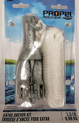 Kayak Anchor 1.5lb Folding Galvanized Grappling 4 Prong, 20' Rope and Carry Bag