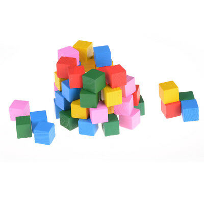 Candy Colorful wood cube blocks Bright Assemblage block early learning toy~FO