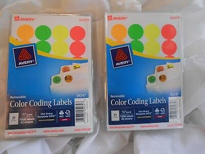 2 PACKS Avery Removable Print Or Write Color Coding Labels 075 5474 1008