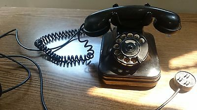 Vintage antique old rotary dial CB-37 black bakelite telephone from Hungary