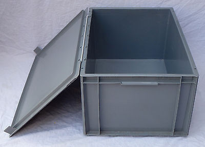 GREY PLASTIC STACKING Industrial Euro Storage Container Box 600 x