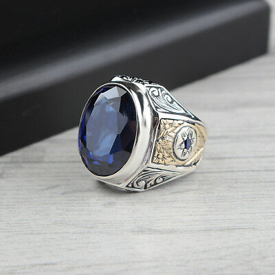Handmade 925 SILVER Turkish ring Blue zircon stone for Men size jewelry RRP £40
