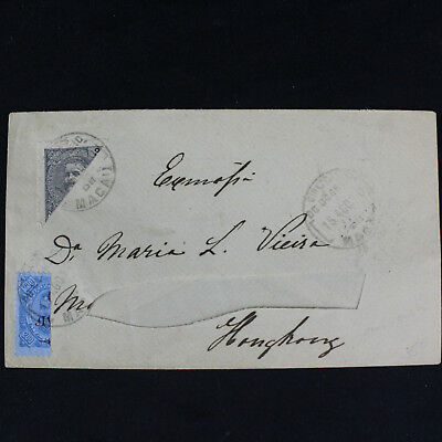 Portugal Macao Macau 1910 Cover to Hong Kong Dom Carlos Bisected Stamps Scarce!
